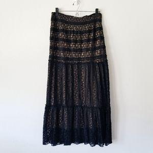 Lapis Nordstrom Black Lace Boho Maxi Skirt L
